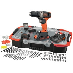 Black and Decker - 18V Lithiumion Drill Driver with 2x 15Ah Batteries 400mA Charger and 160 Accessories in a Click  Connect Box - BCD001BAST