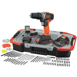 Black and Decker - 18V Lithiumion 2 Speed Hammer Drill with 2x 15Ah Batteries 400mA Charger and 160 Accessories in a Click  Connect Box - BCD003BAST