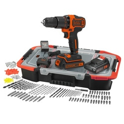 Black and Decker - 18V Hammer Drill with 2x 15Ah Batteries Charger 160 Accessories and Click  Connect Box - BCD700BAST