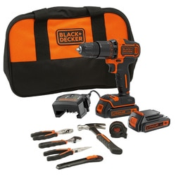 Black and Decker - 18V Hammer Drill with 2x 15Ah Batteries Charger 6 Hand tools and Soft bag - BCD700HTSA