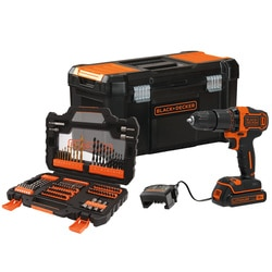 Black and Decker - 18V LithiumIon 2 Gear Hammer Drill with 15Ah Battery 104 piece Accessory Set 400mA Charger and 19 Toolbox - BCD700K104A