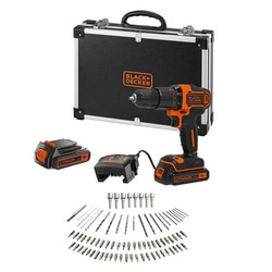 Black and Decker - 18V Lithiumion 2 Speed Hammer Drill 2 batteries 80 Accessories and Flight Case - BCD700S2AFC