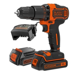 Black and Decker - 18V LithiumIon Hammer Drill with 2 x 15Ah Batteries Charger and Kitbox - BCD700S2K