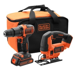 Black and Decker - 18V Hammer Drill and Jigsaw in Soft Bag - BCK22S1S