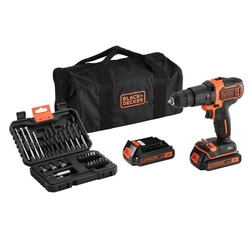 Black and Decker - 18V 2 Gear Lithiumion Hammer Drill with 2 Battiers 32 Accessories and Storage Bag - BDCHD18BS32