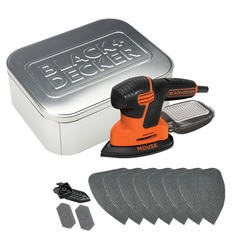 Black and Decker - 120W Mouse Detail Sander  10 accessories  Storage Tin - KA2000AT