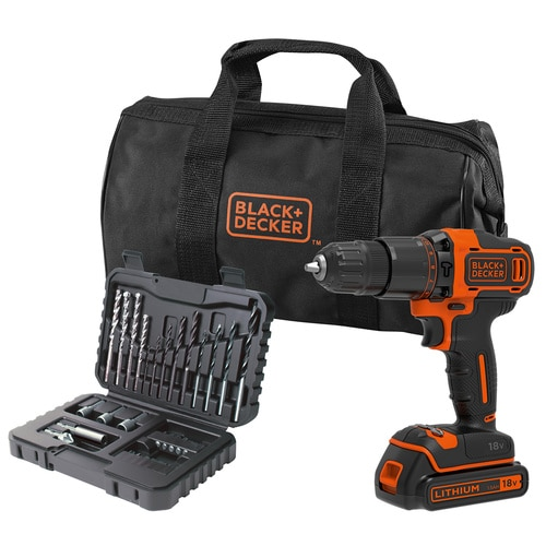 Black and Decker - 18V Lithiumion 2 Gear Hammer Drill with 15Ah Battery 32 Piece Accessory set  400mA Charger in a Soft Bag - BCD700S32