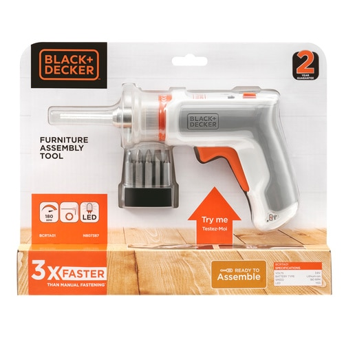 Black and Decker - 36V Furniture Assembly Tool with a Micro USB Charger and 7 Accessories - BCRTA01
