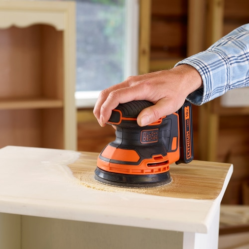 Black and Decker - 18V Lithiumion Cordless Random Orbital Sander with Dust bag and 1 Mesh sanding sheet - BDCROS18N