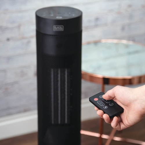 Black and Decker - 2000W Tower Heater with Flame Effect - BXSH44003GB