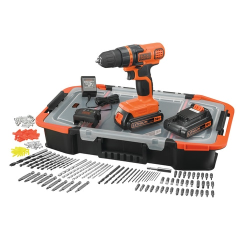 Black and Decker - 18V Lithiumion Drill Driver with additional battery 160 accessories and storage box - EGBL18BAST