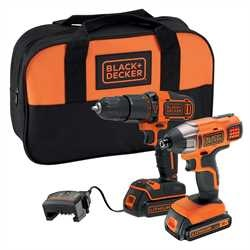Black and Decker - 18V Hammer drill and 18V Impact Driver with 2 x 15Ah Batteries 400mA Charger and Small Soft Bag - BCK25S2S