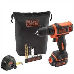 Black and Decker - 108V Ultra Compact Lithiumion Drill Driver with accessories in gift pack - BDCDD12GPA