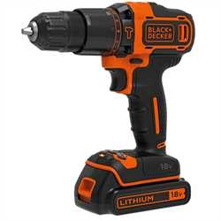 Black and Decker - 18V Lithiumion 2 Gear Hammer Drill  400mA charger  1 battery  Kitbox - BDCHD18K