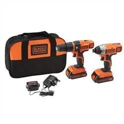 Black and Decker - 18V Lithiumion Hammer Drill  Impact Driver with Storage Bag - BDCHIM18B