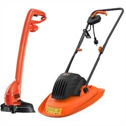 Black and Decker - 30cm Electric Hover Mower 1200W with GL250 Strimmer Grass Trimmer - BEMWH551GL2