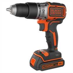 Black and Decker - 18V Lithiumion Brushless 2 Gear Hammer Drill  2 Batteries  400mA charger  Kit Box - BL188KB