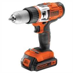 Black and Decker - 18V Lithiumion High Performance Cordless Drill with 1A 90 Min Charger and two batteries - EGBHP1881BK