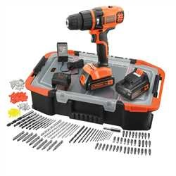 Black and Decker - 18V Lithiumion Hammer Drill With 2 Batteries and 160 Accessories and Storage Box - EGBL188BAST