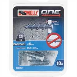 Black and Decker - Molly One Fixing 10 pack White Countersunk - M30012