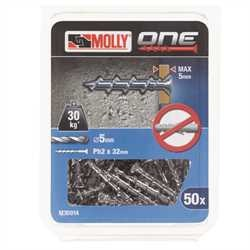 Black and Decker - Molly One Fixing 50 pack Silver Countersunk - M30014