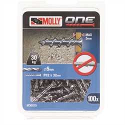 Black and Decker - Molly One Fixing 100 pack Silver Countersunk - M30015
