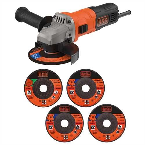 Black and Decker - 710W 115mm Grinder with 5 Cutting Discs Cutting Guard and Grinding Guard - BEG010A5