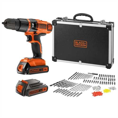 Black And Decker - 18V Lithiumion Cordless Hammer Drill with additional battery and 160 accessories in storage case - EGBL188BAFC